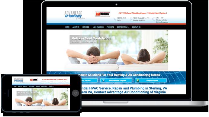 Advantage Air Conditioning of Virginia Website Design