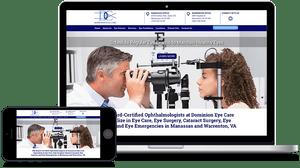 Dominion Eye Care in Manassas VA and Warrenton VA website design