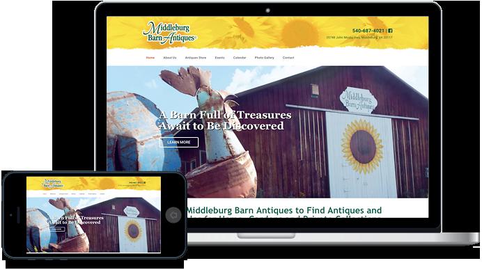 Middleburg Barn Market in Virginia antiques website design