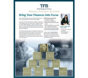 TFB Wealth Management personal financial planning magazine ad