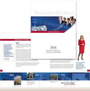 WashingtonFirst Bank in Virginia 2014 Annual Report cover design and interior spread
