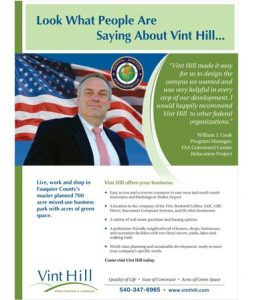 Ad for Vint Hill Economic Development Authority in VA