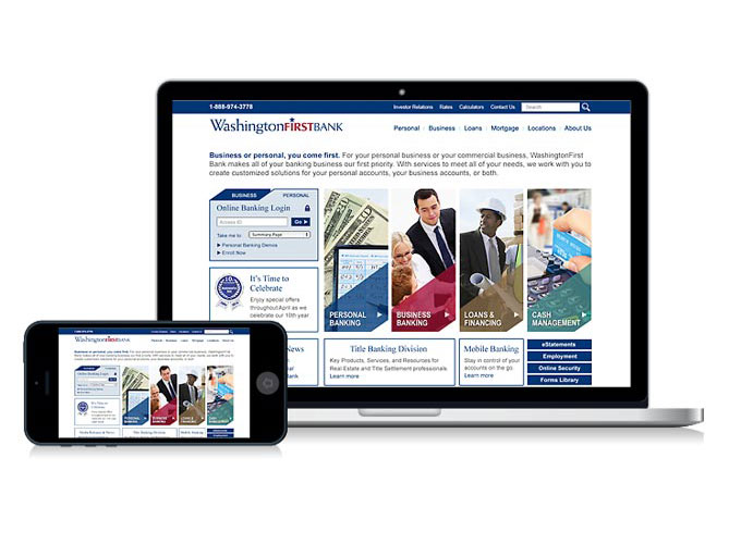 WashingtonFirst Bank in VA annual website design